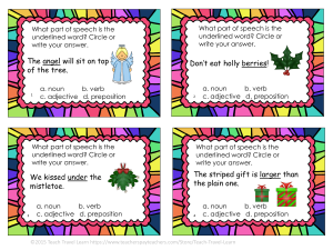 Christmas Part of Speech Review Task Cards 1-4