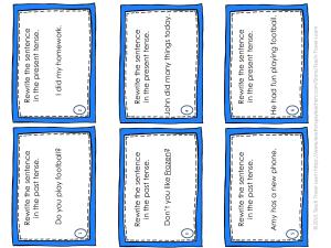 Irregular Verbs Simple Past Task Cards 1-6